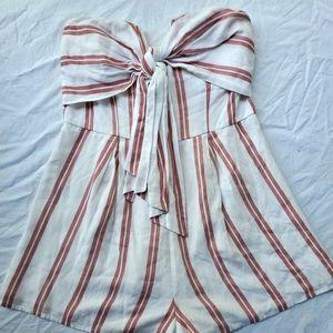Pink/White Striped Strapless Romper Size M